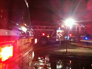 Medford Lakes Tanker 3716 being refilled by Indian Mills Engine 2812. before returning to the scene.